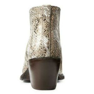 Ariat Shoes - Leather Western Ankle Boots Tan Snakeskin